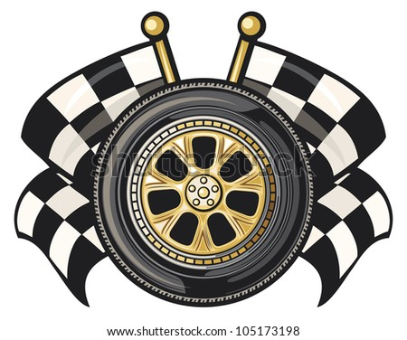 wheel and two crossed checkered flags (sports race design)