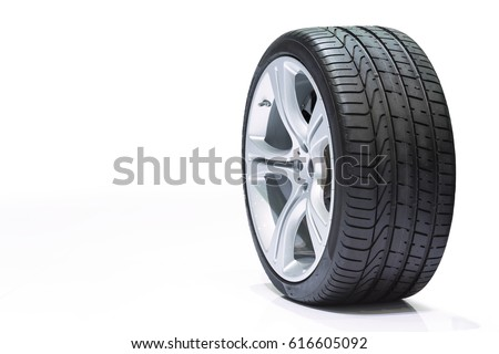 Wheel car, Car tire, Aluminum wheels isolated on white background. #616605092