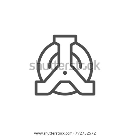 Wheel clamp line icon isolated on white