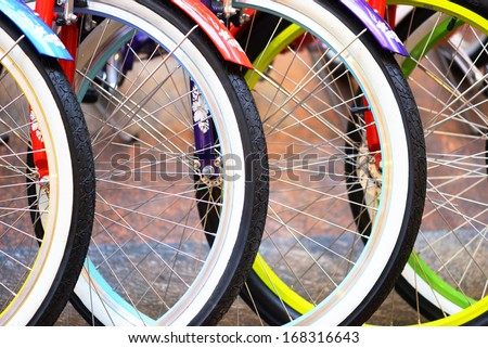 Wheel detail of a group of bikes