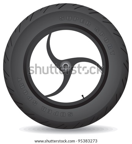 Wheel for a sports bike on a white background