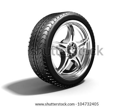 Wheel isolated on white. 3d illustration.