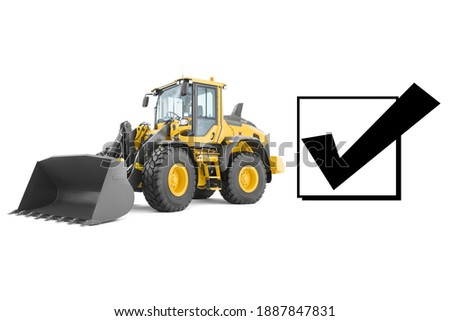 Wheel Loader Isolated on White. Yellow Front Loader. Loading Shovel. Manufacturing Equipment. Pneumatic Truck. Tractor Front Loader. Heavy Equipment Machine. Side View Industrial Vehicle. 3D Rendering Photo stock ©