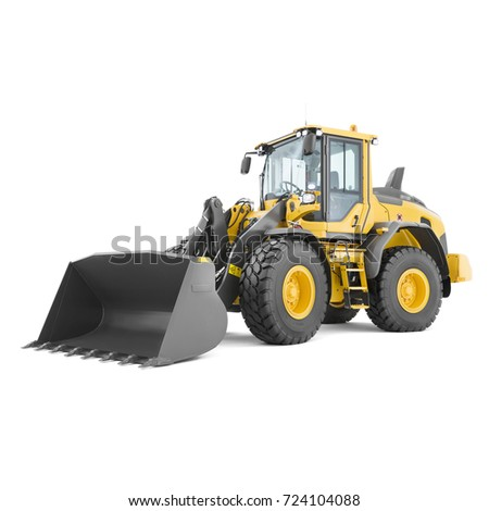 Wheel Loader Isolated on White. Yellow Front Loader. Loading Shovel. Side View of Manufacturing  Heavy Equipment Machine. Industrial Vehicle. Tractor Front Loader. Pneumatic Truck