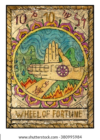 Wheel of fortune.  Full colorful deck, major arcana. The old tarot card, vintage hand drawn engraved illustration with mystic symbols. Two crossed hands against water and fire background