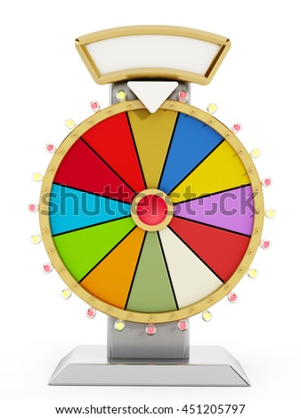 Wheel of fortune isolated on white background. 3D illustration.
