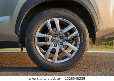 Wheel of modern SUV vehicle