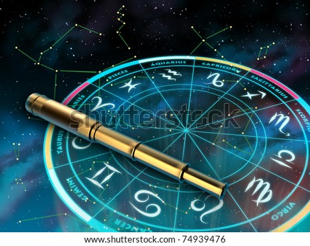 Wheel of the zodiac and telescope over a sky background. Digital illustration.