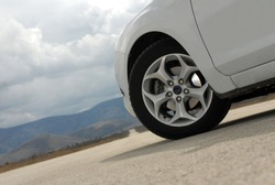 Wheel on a white sport car