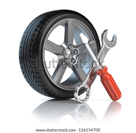 Wheel repair - stock photo