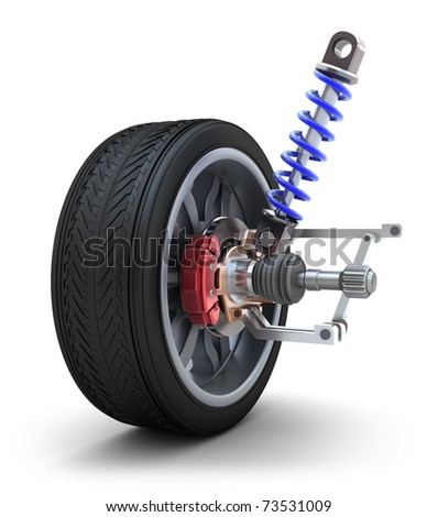Wheel, shock absorber and brake pads. Isolated on white - stock photo