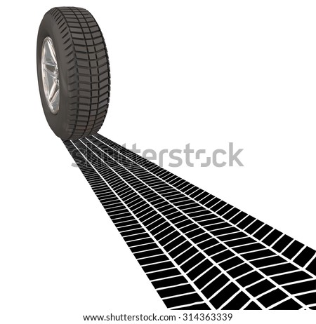 Wheel Tire Skid Mark Tracks on a road as you are leaving a town or place, driving a car, automobile or other vehicle