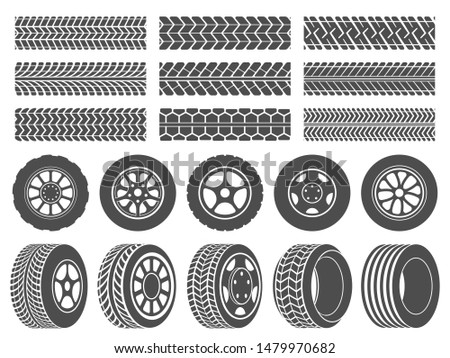 Wheel tires. Car tire tread tracks, motorcycle racing wheels icons and dirty tires track. Motocross bike trail, vehicle track or auto race tires.  isolated symbols illustration set