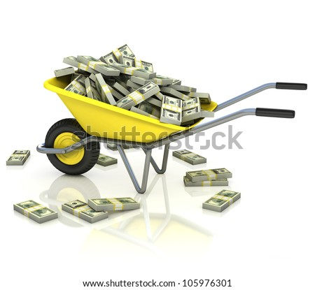 wheelbarrow full of money - wealth, fortune, capital, earnings, lottery, dollar 3d concept