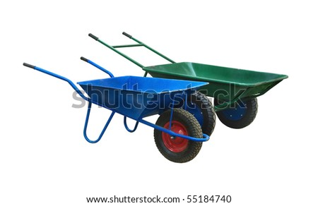 Wheelbarrow isolated on a white background. Blue and green wheelbarrows - basic tool for the garden and construction.