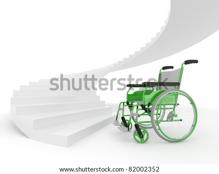 Wheelchair and stairs on white background. Difficult decision. 3d - stock photo