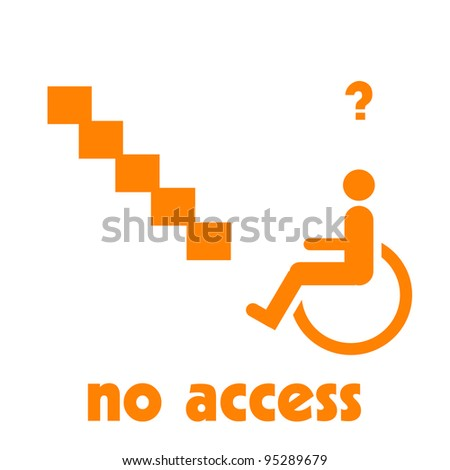 wheelchair at the bottom of stairs illustration orange on white