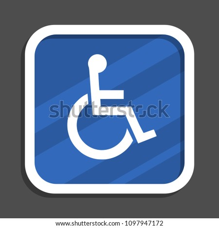 Wheelchair blue flat design square web icon