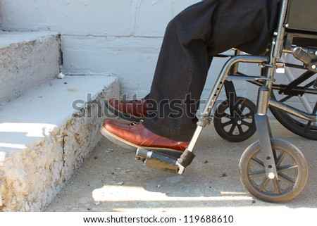 Wheelchair-bound person near stairs. Concept of limitations and accessibility.