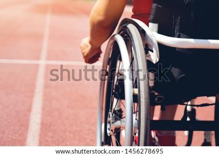 wheelchair sportsmen on track. wheelchair sportsmen ready.