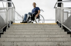Wheelchair user at stairs concept accessible barrier free disability access