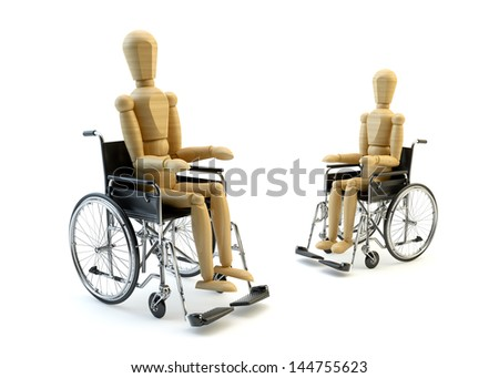 Wheelchair with wooden man sitting isolated on white background