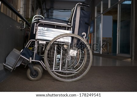 Wheelchairs parked in a hospital