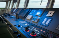 Wheelhouse control board of modern industry ship