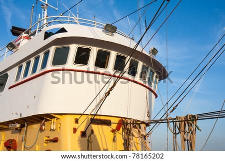 Wheelhouse of a Dutch iron fishing cutter - stock photo