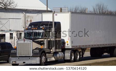 Wheeling, WV / USA - April 14 2019: Big rig on road #1370614520