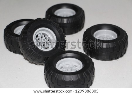Wheels for the car. The wheels are removed from the car, the wheels are rubber toy. #1299386305