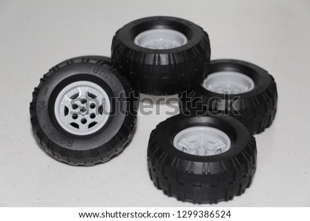 Wheels for the car. The wheels are removed from the car, the wheels are rubber toy. #1299386524