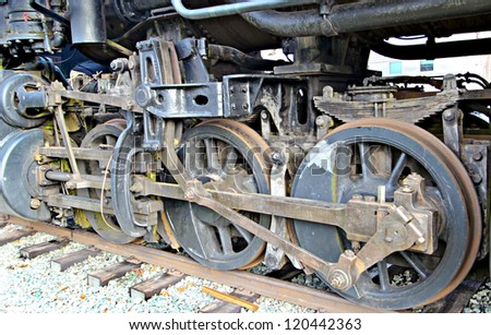 wheels from a vintage steam locomotive