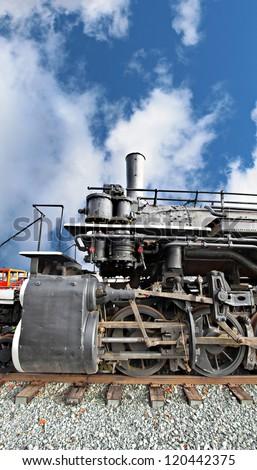 wheels from a vintage steam locomotive