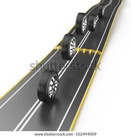wheels jumping over speed bump isolated on white background. 3d rendered image