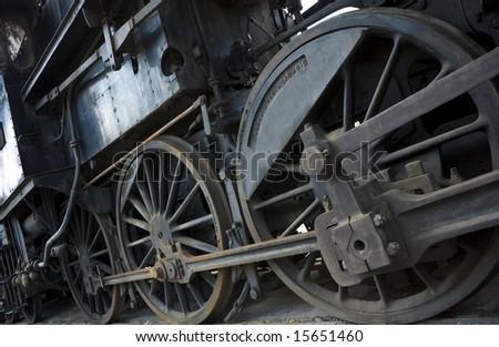wheels of a steam engine