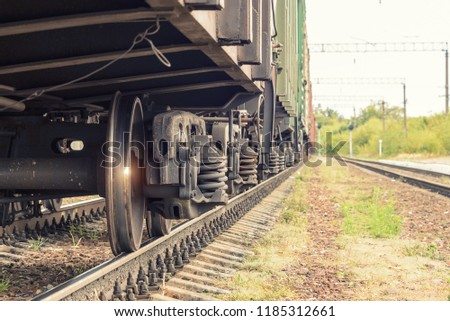 wheels of a train on rails. Railway