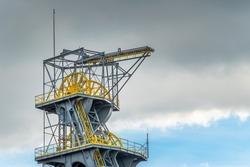 Wheels of the mine shaft tower in coal mine 'Wieczorek' in Katowice, Silesia, Poland.