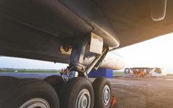 Wheels rubber tire rear landing gear racks, under wing airplane view