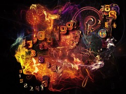 When Numbers Dream series. Arrangement of fractals,  natural forms and conceptual particles on the subject of math, design, magic, philosophy and science of nature