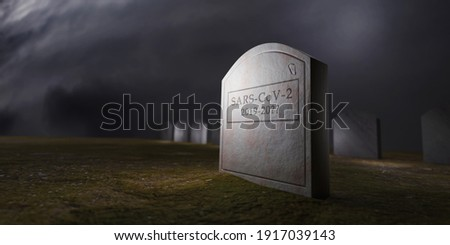 When will covid-19 end?. 3d rendering of a conceptual image of a tombstone in a cementery with a covid-19 inscription  Stock photo ©
