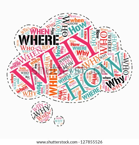 where who why how when info text question word cloud concept. Word cloud, tag cloud text business concept. Word collage.