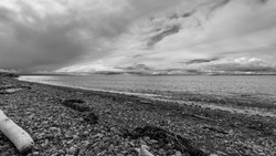 Whidbey Island beach with dramatic clouds