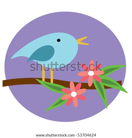 whimsical Blue Bird on branch