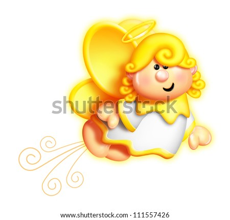 Whimsical Cartoon Angel Flying