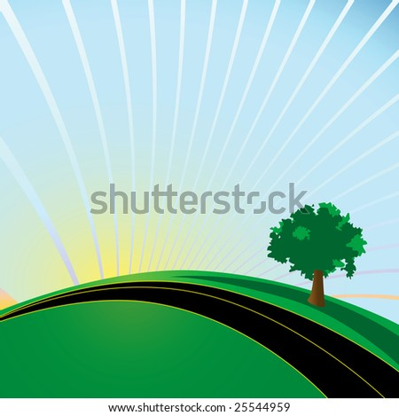 Whimsical illustrated highway and tree. Imagine future sustainable development.
