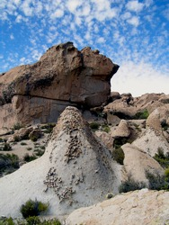 Whimsical shapes in rocks affected by wind erosion