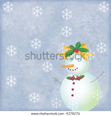 whimsical snow woman against winter background