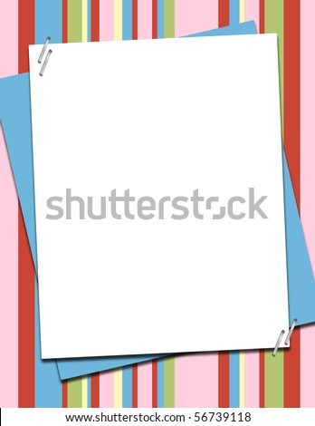 Whimsical Stripe Template Background 8.5 x 11 ready for your text