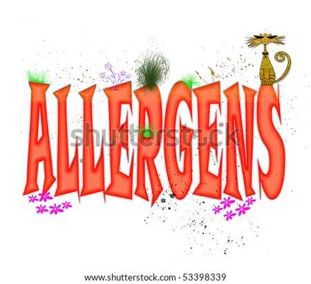 "Whimsical typography design in red caps illustrating the word ""Allergens"""
